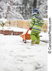 ανώριμος άπειρος , δραστήριος , ένα , καροτσάκι , διαμέσου , χιόνι