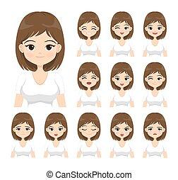ανώριμος δεσποινάριο , απομονωμένος , illustration., διαμέρισμα , μικροβιοφορέας , άσπρο , διάφορος , γυναίκα , expressions., διαφορετικός , φόντο. , του προσώπου , ισχυρό αίσθημα , γελοιογραφία
