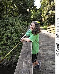 ανώριμος δεσποινάριο , ευθυμία , χρόνος , ψάρεμα , μακριά , γέφυρα