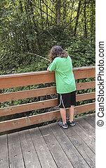 ανώριμος δεσποινάριο , ψάρεμα , μακριά , άγαρμπος γέφυρα