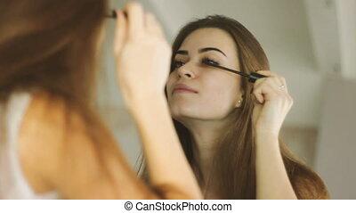 ανώριμος ενήλικος , γυναίκα , έργο , μακιγιάζ , από , αυτή η...