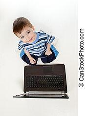 ανώτατος , laptop., παιδί , αντίκρυσμα του θηράματοσ. , λατρευτός , παίξιμο