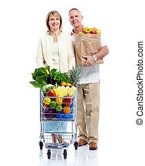 ανώτερος ανδρόγυνο , με , ένα , ψώνια , cart.