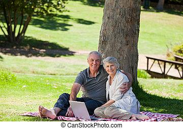 ανώτερος ανδρόγυνο , picnicking , αναμμένος άρθρο ασχολούμαι με κηπουρική