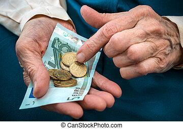 ανώτερος γυναίκα , αρίθμηση , χρήματα