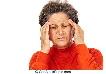 ανώτερος γυναίκα , πονοκέφαλοs