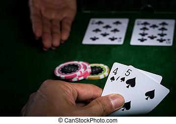 ανώτερος , κερδίζω , baccarat, πότε , παιγνίδι , άγκιστρο στερέωσης ρούχων , τραπεζίτης , παραδίδομαι , κάρτα , αντίδικος