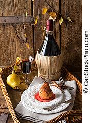 απίδι , κόκκινο κρασί