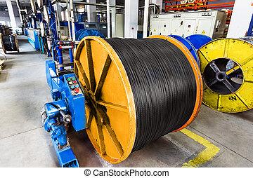 απαρχαιωμένος , εσωτερικός , γριά , βιομηχανοποίηση , ηλεκτρικός , cable., εργοστάσιο