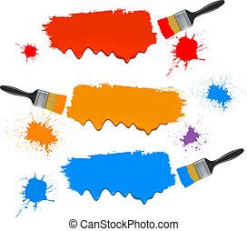 απεικονίζω ακουμπώ , και , βάφω , banners., μικροβιοφορέας , illustration.