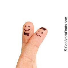 απεικονίζω , ζευγάρι , smiley , απομονωμένος , δάκτυλο , άσπρο