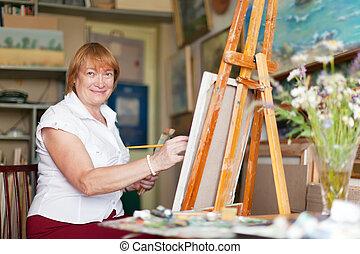 απεικονίζω , καμβάς , γυναίκα , οτιδήποτε , καλλιτέχνηs