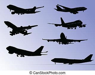 απεικονίζω σε σιλουέτα , αεροπλάνο