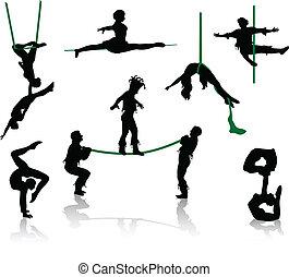 απεικονίζω σε σιλουέτα , από , τσίρκο , performers.