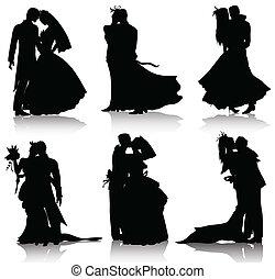 απεικονίζω σε σιλουέτα , γάμοs