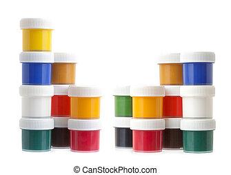 απεικονίζω , χρώμα , απομονωμένος , ή , gouache , cans , φόντο , άσπρο , δοχεία