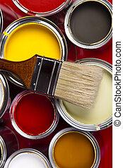 απεικονίζω cans , βούρτσα χρωματιστού