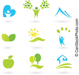 απεικόνιση , ή , στοιχεία , φύλλα , άνθρωποι , θέτω , life., τοπίο , living., γραφικός , ενόργανος , εμπνευσμένος , μικροβιοφορέας , φύση , illustration., ανήφορος