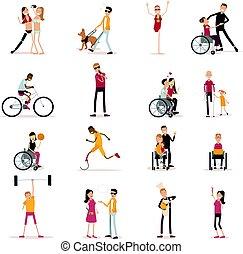 απεικόνιση , θέτω , άνθρωποι , ανάπηρος