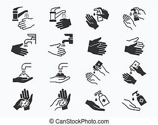 απεικόνιση , μαύρο , illustration., μικροβιοφορέας , πλύση , set., χέρι