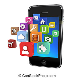 απεικόνιση , app , smartphone, απομονωμένος , -
