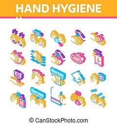 απεικόνιση , isometric , μικροβιοφορέας , χέρι , υγιεινή , θέτω , υγιεινός