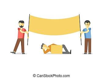 απεργία , απομονωμένος , κίτρινο , white., κράτημα , σημαία...