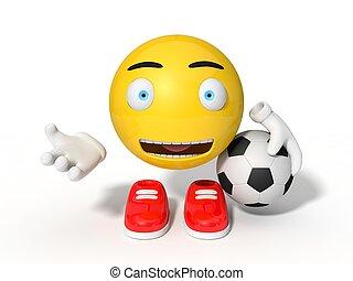 απλό , κίτρινο , smiley , μπάλα , character., επάγγελμα , για , football., 3d , illustration.