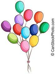 απλό , μπαλόνι , σύνολο , ζωγραφική