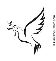 απλό , σύμβολο , ειρήνη , περιστέρα