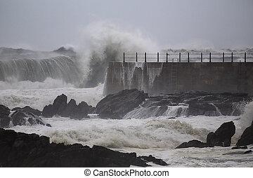αποβάθρα , θάλασσα , καταιγίδα , κατά την διάρκεια