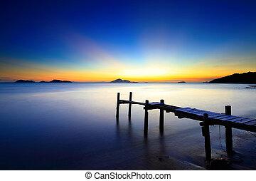 αποβάθρα , θαλασσογραφία , ηλιοβασίλεμα , ξύλινος