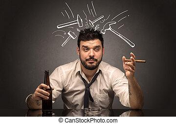 απογοητευμένος , μεθυσμένος , γενική ιδέα , επακόλουθο μέθης , άντραs
