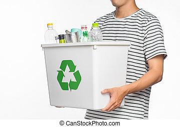 αποθήκη , γεμάτος , eco, εγγραφή , concept., ανακύκλωση , απομονωμένος , recyclable , φόντο. , αμπάρι ανάμιξη , αγαθός ανδρικός