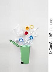 αποθήκη , γκρί , γενική ιδέα , ανακύκλωση , πλαστικός , φόντο. , σπατάλη , σκουπίδια