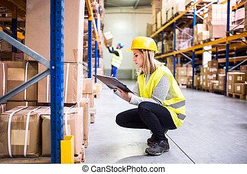 αποθήκη , clipboard., γυναίκα , εργάτης