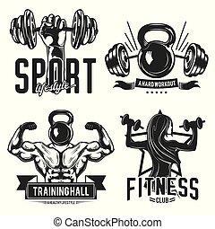 αποκαλώ , γυμναστήριο , logos., έμβλημα , σήμα