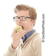 απολαμβάνω μήλο , απομονωμένος , νέος , φόντο , άσπρο , άντραs