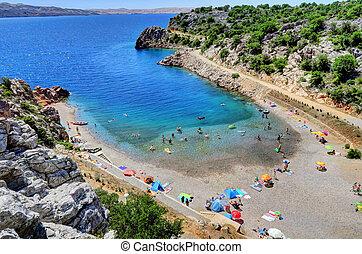 απολαμβάνω , senj, άνθρωποι , ηλιόλουστος , ακτή , αδριατική , κροατία , θάλασσα , ημέρα