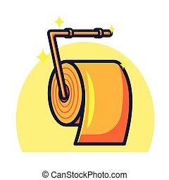απομονωμένος , γενική ιδέα , τουαλέτα , χρυσός , χαρτί , μικροβιοφορέας , εικόνα , υγεία , illustration.