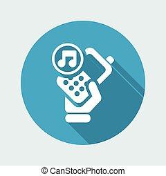 απομονωμένος , εικόνα , τηλέφωνο , μονό , μικροβιοφορέας , μουσική , εικόνα