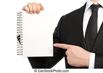 απομονωμένος , επιχειρηματίας , μέσα , ένα , αγωγή και αμφιδέτης , κράτημα , ένα , σημειωματάριο