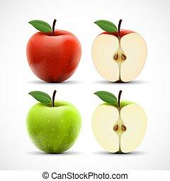 απομονωμένος , μήλο , αγαθός αριστερός , φόντο , πράσινο