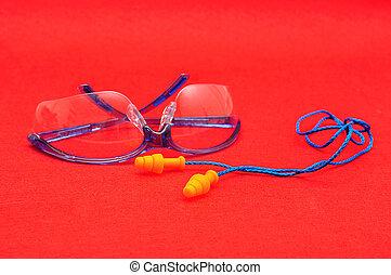 απομονωμένος , μεγάλα ματογυαλιά , ασφάλεια , φόντο , αναφλεκτήρας , αυτί , κόκκινο