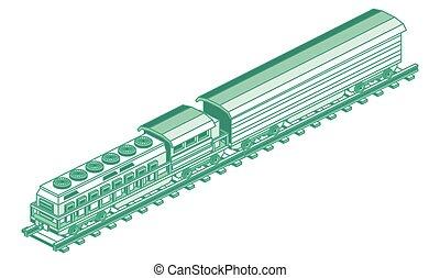 απομονωμένος , φορτίο , illustration., μικροβιοφορέας , locomotive., white., περίγραμμα , isometric , τρένο