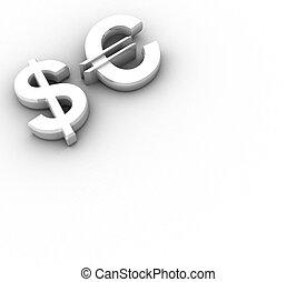 απομόνωση , 3d , δολάριο , euro αναχωρώ
