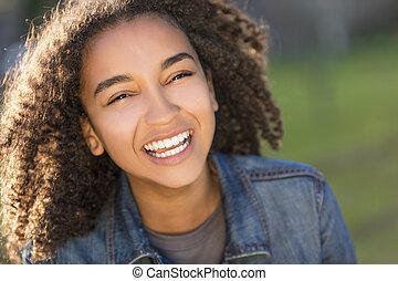 αποπερατώνω δόντια , αμερικανός , αγώνας , έφηβος , αφρικανός , ανακάτεψα , κορίτσι