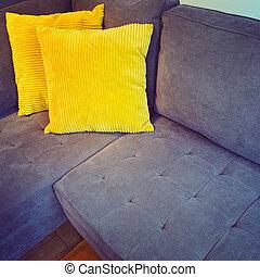 απορροφητήρας κραδασμών , καναπέs , ευφυής , κίτρινο , γωνία