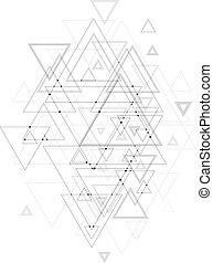 αποσιωπητικά , structure., τριγωνικό σήμαντρο , αφαιρώ , poly, polygonal, σύνδεση , lines., μικροβιοφορέας , χαμηλός , φόντο , συνδετικός