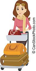 αποσκευές , κορίτσι , δραστήριος , κάρο